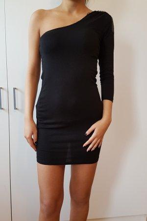 One Shoulder Kleid black dress mit Applikation sexy schwarzes party Kleid