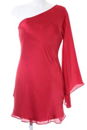 One Shoulder Dress dark red wet-look