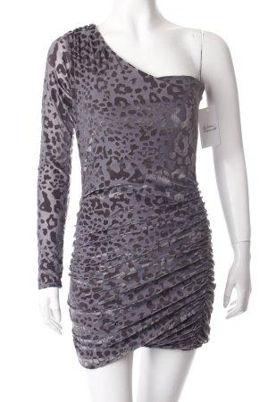 Vestido de un hombro gris-marrón grisáceo estampado de leopardo