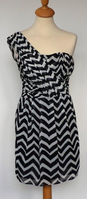 One Shoulder Kleid H&M Gr.34, schwarz/weiß