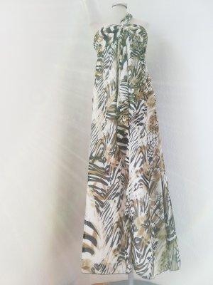 one shoulder Kleid Maxikleid Chiffon Sommerkleid lang braun Gr. UK 10 EUR 38 S M