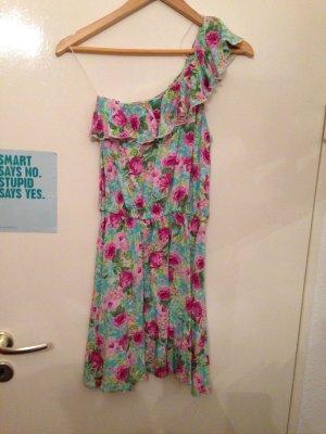 One Shoulder Kleid mit Blumenmuster, bunt, Gr. M (38), Zara TRF