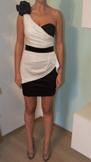 One Shoulder Kleid TFNC London Gr. S 36 weiß / schwarz NEU mit Etikett