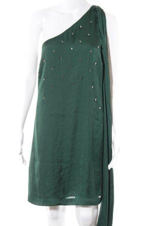 Vestido de un hombro verde bosque elegante