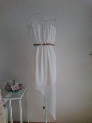 One Shoulder Kleid Weiß mit Gürtel Abiball