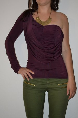 One Shoulder Langarm Raffung lila Shirt Oberteil elegant schick 34 36 XS S