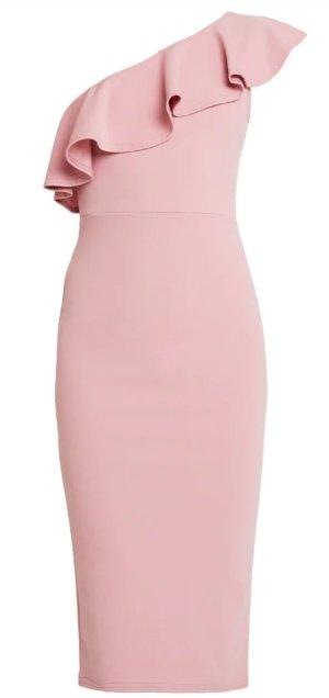 One Shoulder Midi Etuikleid mit Volants, rosa von Missguided