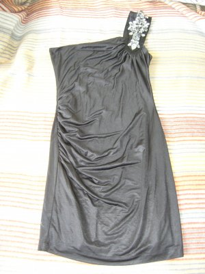 One Shoulder Minikleid Kleid schwarz glänzend Steinapplikationen am Träger XS 34