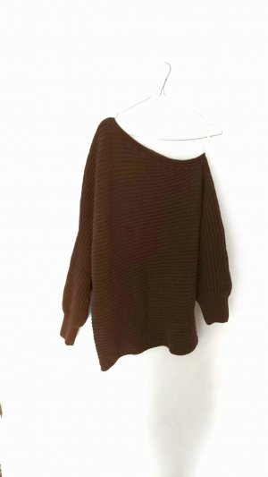 H&M Pull long brun coton