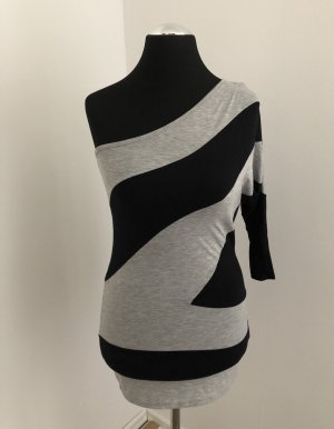 Amisu Camisa de un solo hombro gris-negro