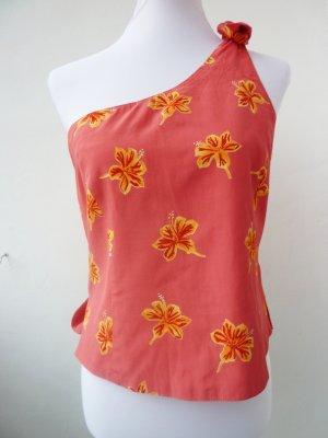One Shoulder Shirt APART IMPRESSIONS Top apricot 40 Hibiskus Blüten SOMMER SHIRT