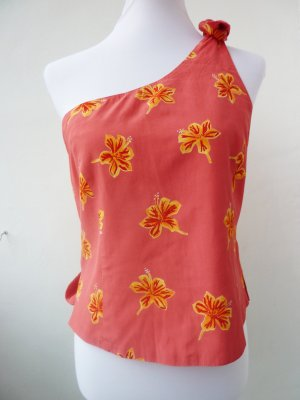 One Shoulder Shirt Apart Top apricot 40 Hibiskus Blüten