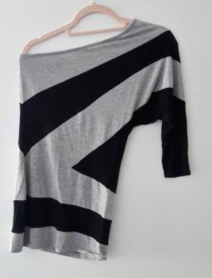 Amisu Camicia monospalla nero-grigio chiaro