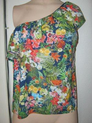 One- Shoulder Shirt mit Volant in L
