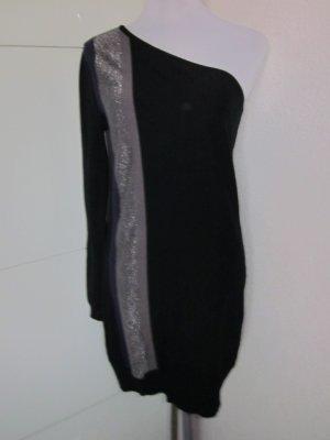 One Shoulder Strickkleid schwarz silber Gr M/L