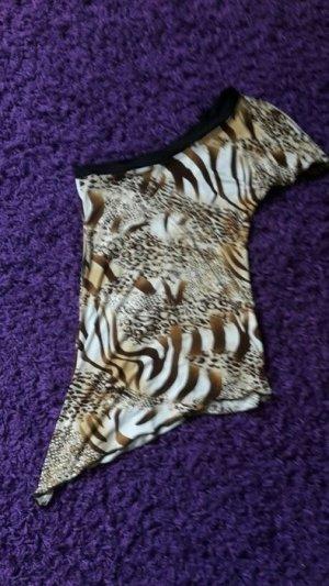 One Shoulder Tigerprint Shirt