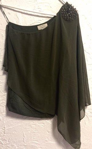 Zara One Shoulder Top khaki-olive green