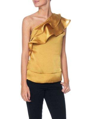 One Shoulder top Bluse Shirt in der Gr.36 S gold/gelb Vero Moda Volanttop Sommer