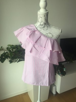 One shoulder Top gestreift rosa weiß Gr L neu