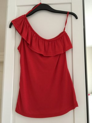 One Shoulder Top mit Volants in rot 34/36