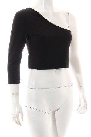 One-Shoulder-Top schwarz schlichter Stil