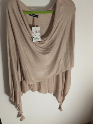 One Size Poncho in beige/nude/leichtes rosa
