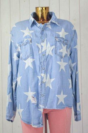 ONE TEASPOON Damen Hemd Jeanshemd Asymmetrisch Hellblau Weiß Sterne Used Gr.XS