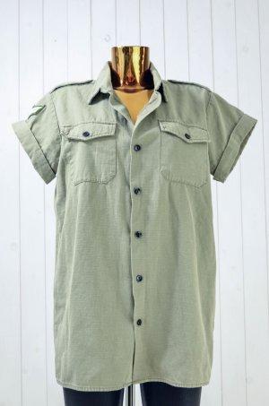 ONE TEASPOON Damen Hemd Oliv-Grün Baumwolle Kurzarm Oversized Gr.S