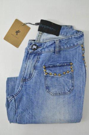 ONE TEASPOON Damen Jeans Schlagjeans Denim Nieten Mittelblau Hippie Gr.8/ 36/ S