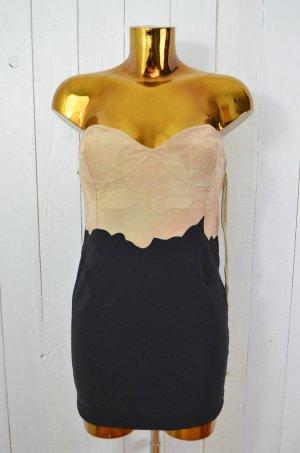 ONE TEASPOON Damen Kleid Minikleid Strechkleid Leder Braun Schwarz Gr.8/ 36 Neu!