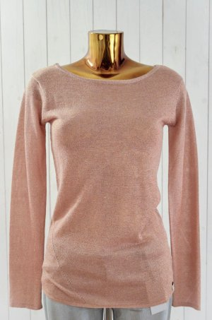 ONE TEASPOON Damen Pullover Strick Baumwolle Lurex Ecru Kupfer Glitzer Gr.8/ 36