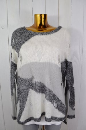 ONE TEASPOON Damen Pullover Strick Lochmuster Schwarz Grau Ecru Gr.8/ 36 Neu!