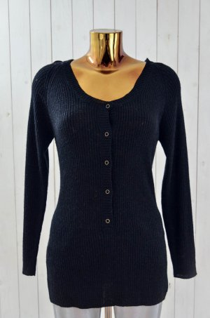 ONE TEASPOON Damen Pullover Strick Wollgem.Glitzer Schwarz Knopfleiste Gr.8/36