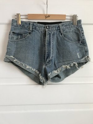 One Teaspoon Hotpants Jeans Denim Pants Hose Shorts Hellblau Blau Blue Fransen