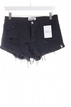 One teaspoon Jeansshorts schwarz Destroy-Optik