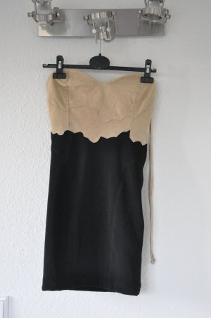 ONE TEASPOON Kleid, Wildleder, beige schwarz, Bustierkleid, Blogger, Sexy, Boho