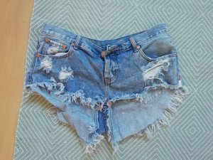 One Teaspoon Shorts Denim Jeans Jeansshorts Hotpants ripped off destroyed Fransen