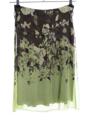 One Touch Jupe évasée vert-noir motif de fleur style décontracté