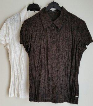 One Touch Blusa Crash bianco-marrone scuro Tessuto misto
