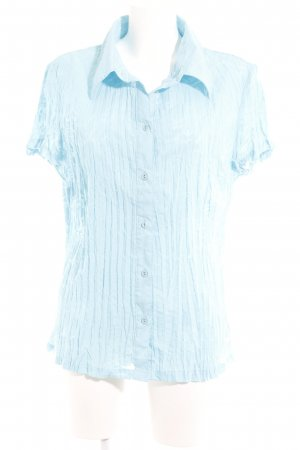 One Touch Kurzarm-Bluse hellblau florales Muster Street-Fashion-Look