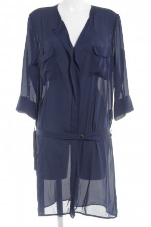 One Touch Lange blouse staalblauw zakelijke stijl