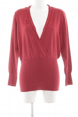 One Touch V-Neck Sweater red elegant