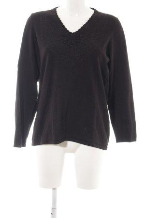 One Touch V-Ausschnitt-Pullover schwarz Casual-Look