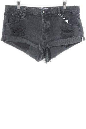 One x Oneteaspoon Hot Pants dunkelgrau Destroy-Optik