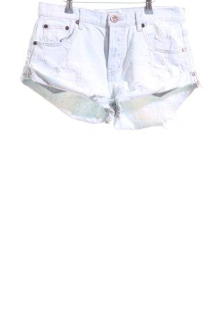 One x Oneteaspoon Hot Pants hellbeige-blassblau Casual-Look