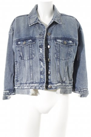 One x Oneteaspoon Jeansjacke creme-dunkelblau Used-Optik