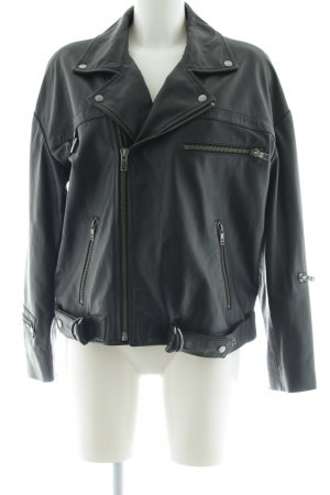 One x Oneteaspoon Leather Jacket black themed print casual look