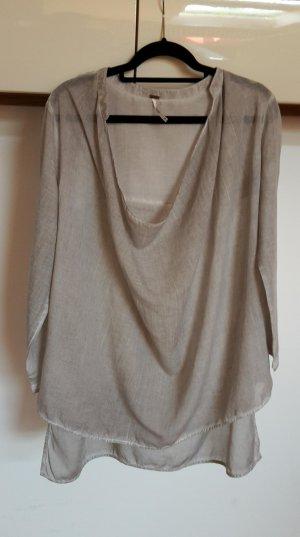 Oversized blouse lichtgrijs Gemengd weefsel
