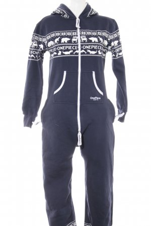 Onepiece Jumpsuit dunkelblau-weiß abstraktes Muster Casual-Look