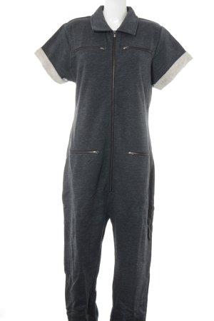 Onepiece Jumpsuit dunkelgrau-blau meliert schlichter Stil